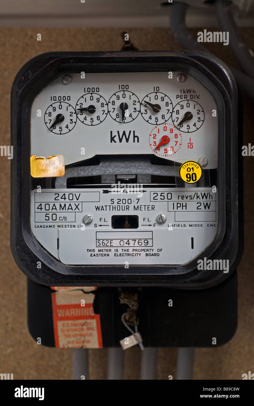 Domestic electricity meter, Bawdsey, Suffolk, UK. Stock Photo