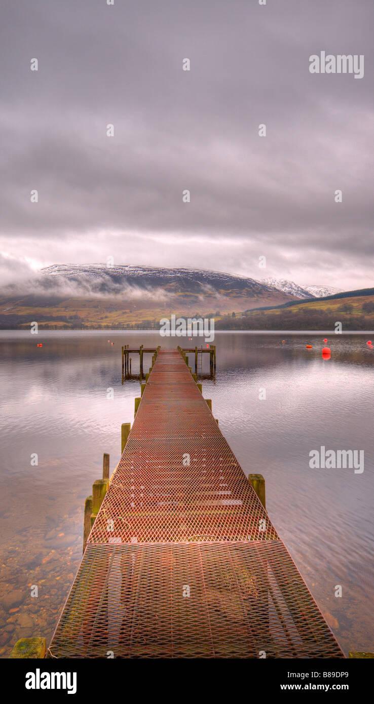Metal jetty at Loch Earn, Scotland. - Stock Image