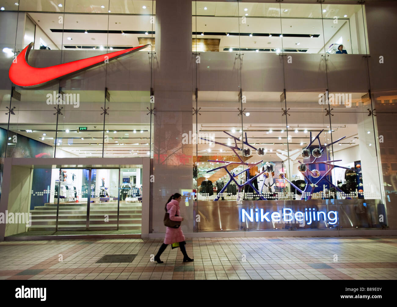 Exterior Night View Of Flagship Nike Store On Wangfujing Street In Central Beijing