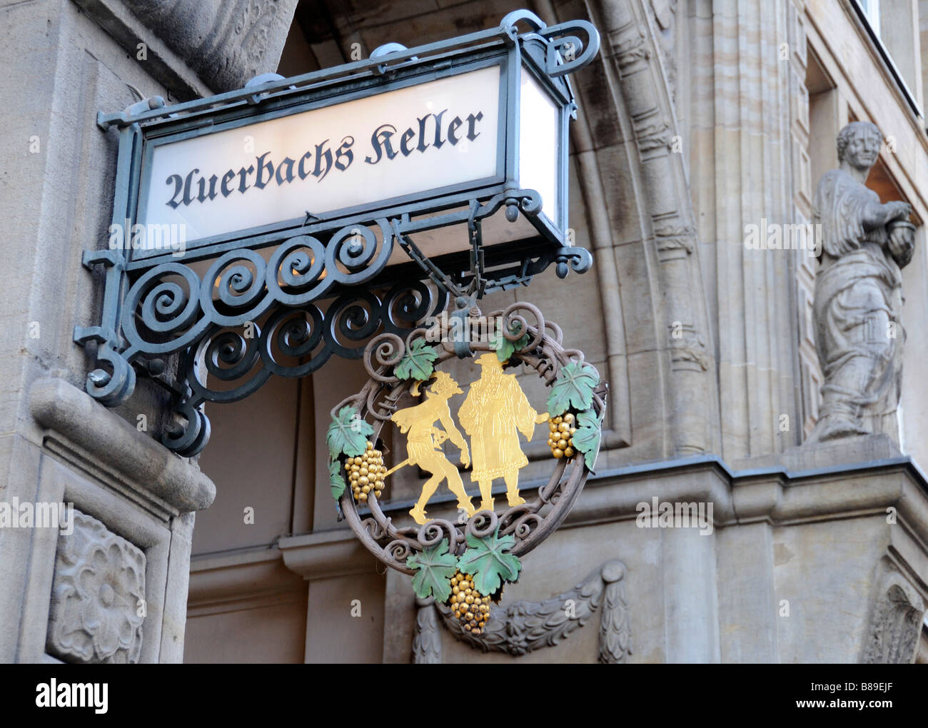 Leipzig sign to Auerbachs Keller restaurant - Stock Image