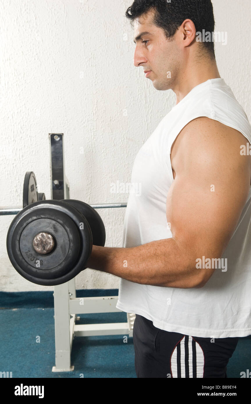 Man training his biceps in the gym - Stock Image