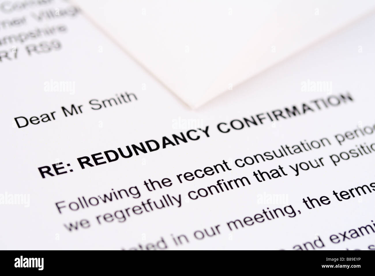 A redundancy letter with envelope - Stock Image