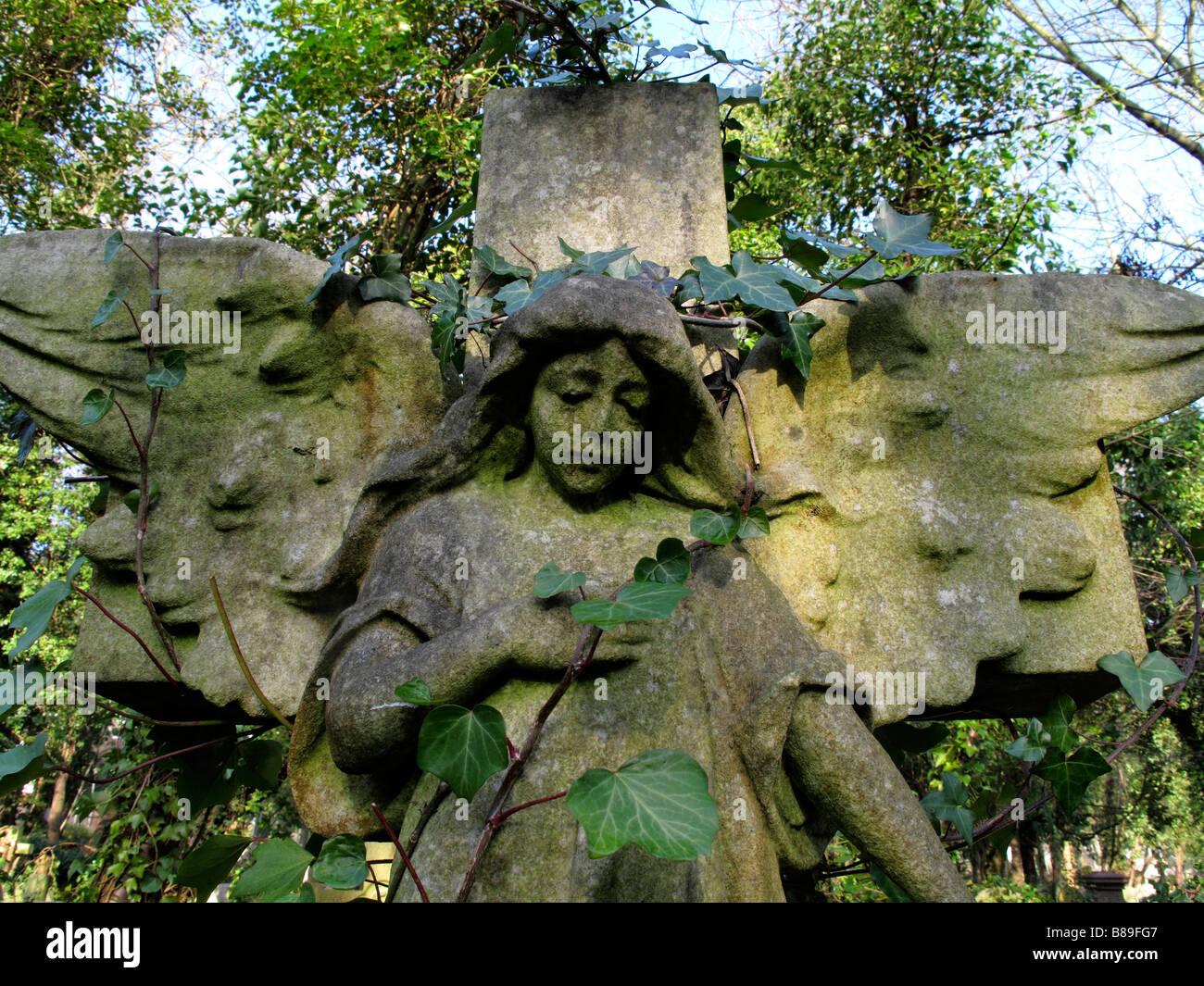 Stone angel in Highgate cemetery Stock Photo