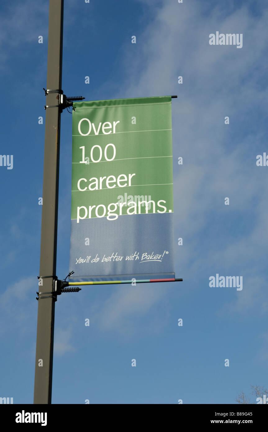 Sign advertising career programs at Baker College in Flint Michigan USA - Stock Image