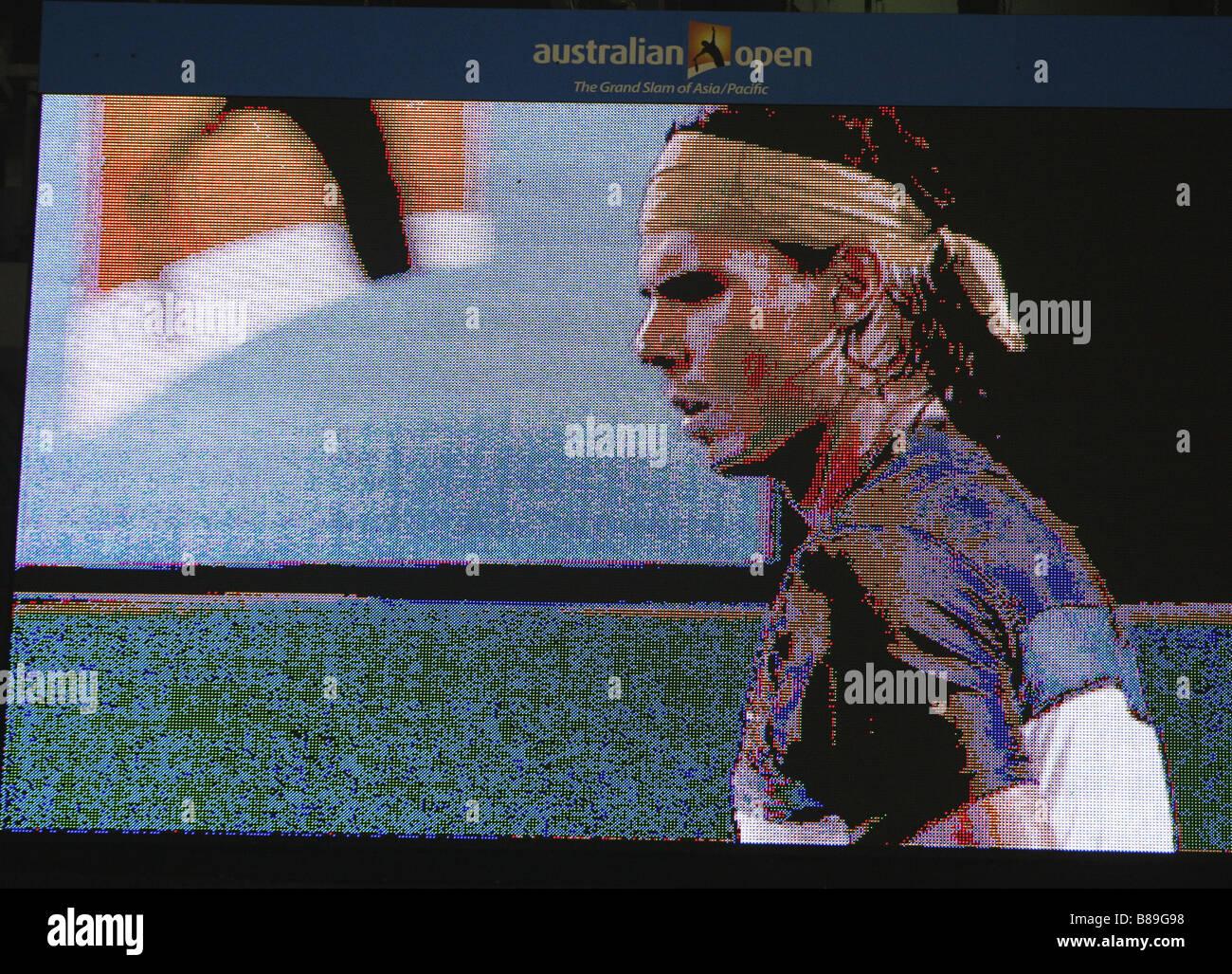 Rafael Nadal on the big stadium screen at the Australian Open 2009, Melbourne,Australia - Stock Image