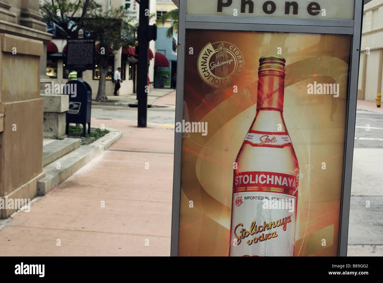 Stolichnaya Vodka Ad on NE 1st Street in Downtown Miami - Stock Image