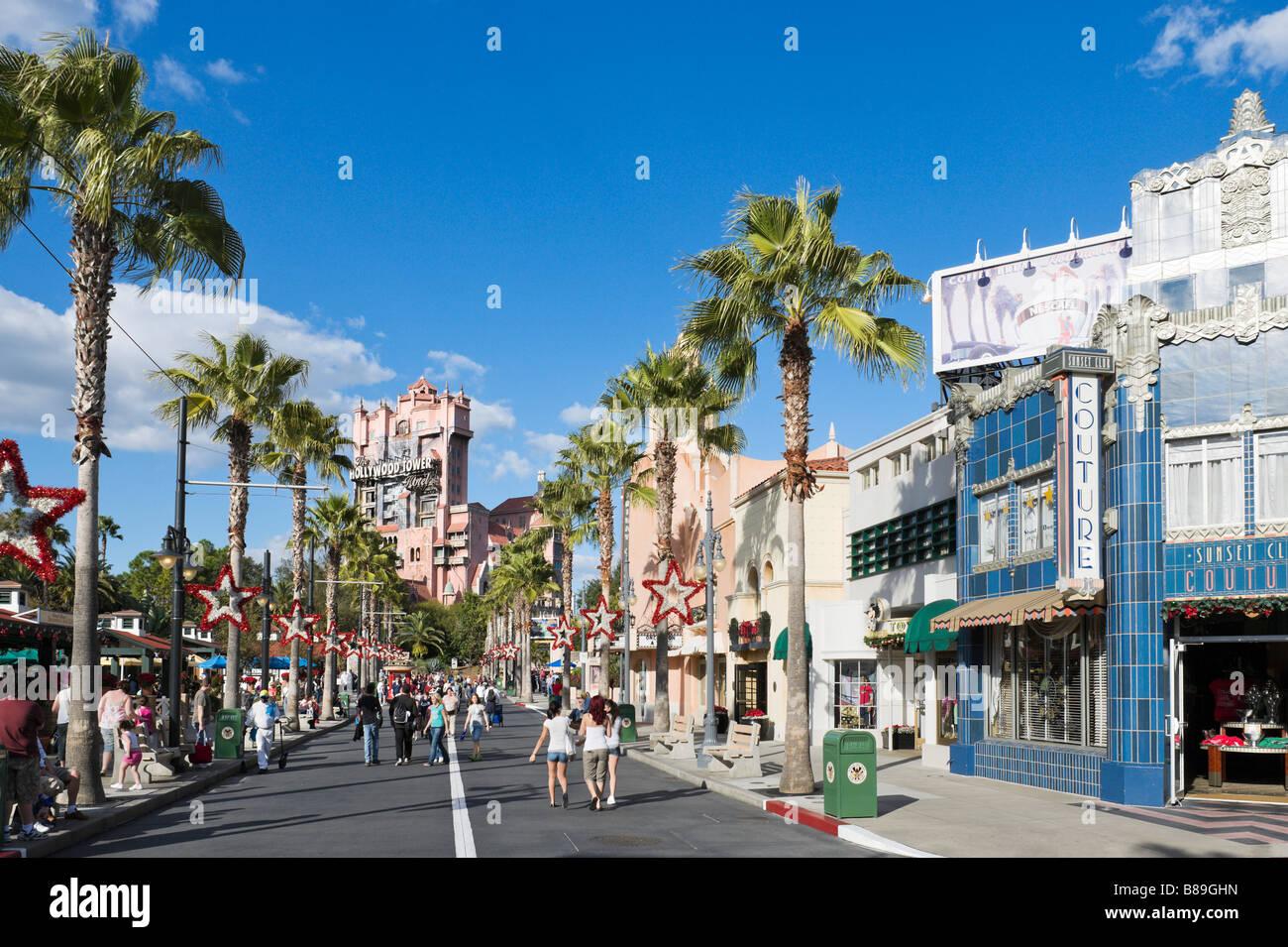 Sunset Boulevard looking towards Twilight Zone Tower of Terror, Disney Hollywood Studios, Walt Disney World, Orlando, - Stock Image