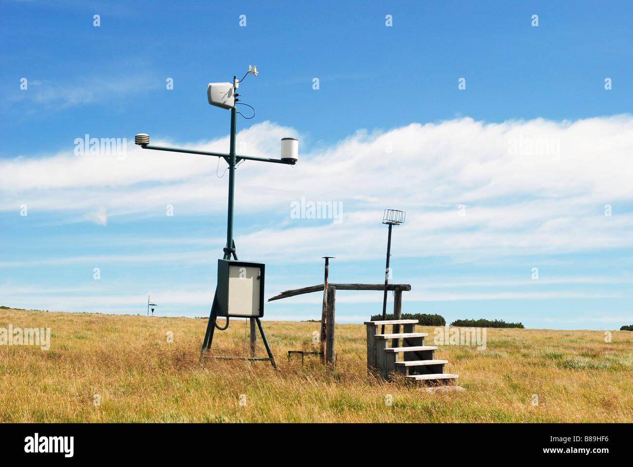 meteorological measuring station Labska bouda Krkonose Czech Republic - Stock Image