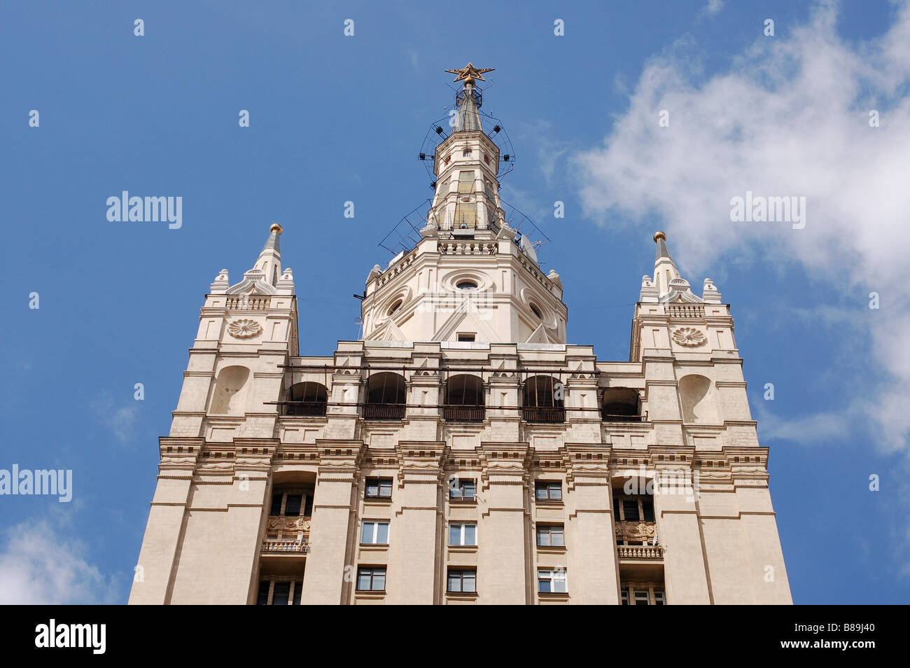 Stalinist architecture Kudrinskaya Square building Moscow Russia - Stock Image
