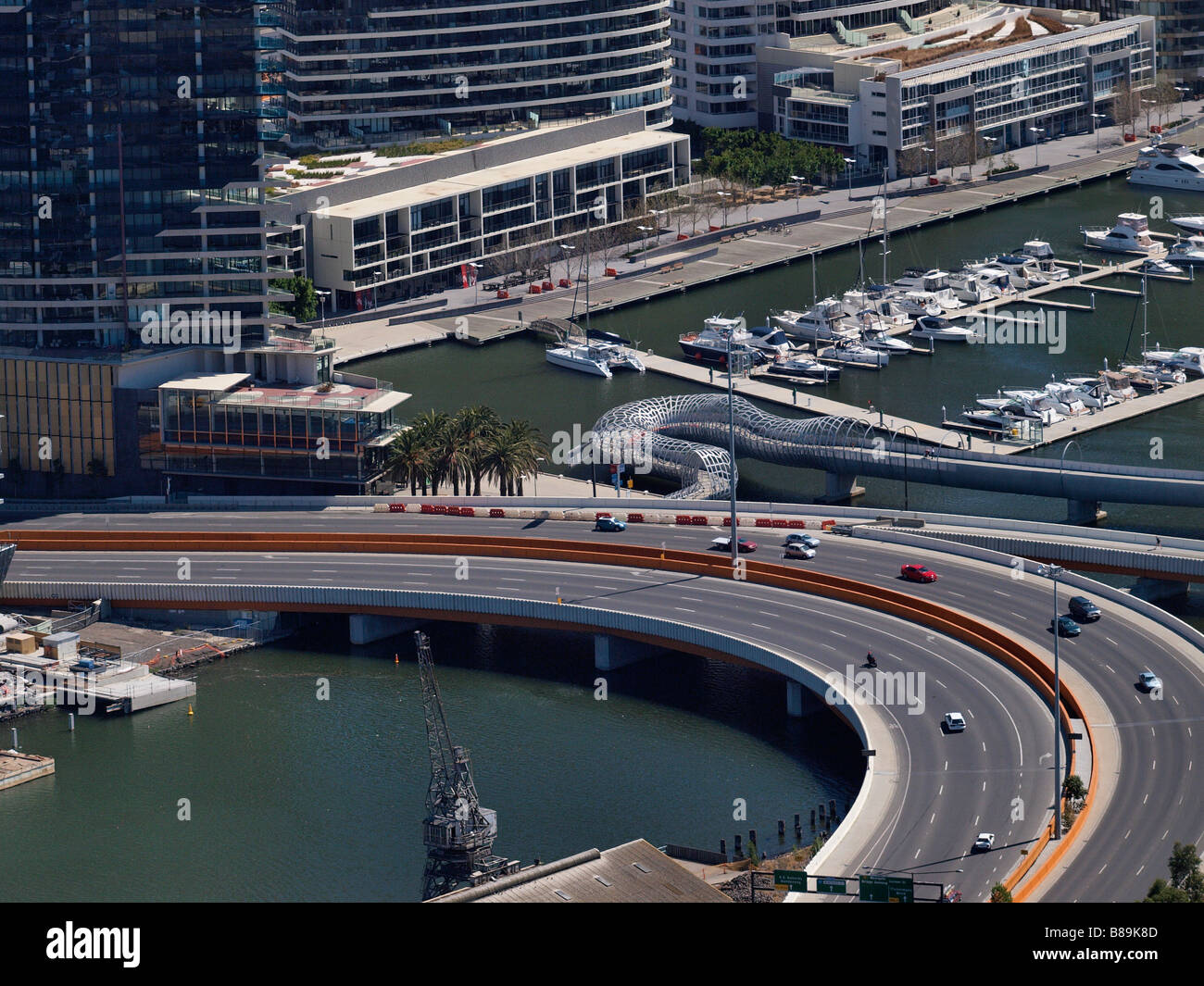 AERIEL VIEW OF DOCKLANDS , MONTAQUE STREET FROM RIALTO TOWERS MELBOURNE VICTORIA AUSTRALIA - Stock Image