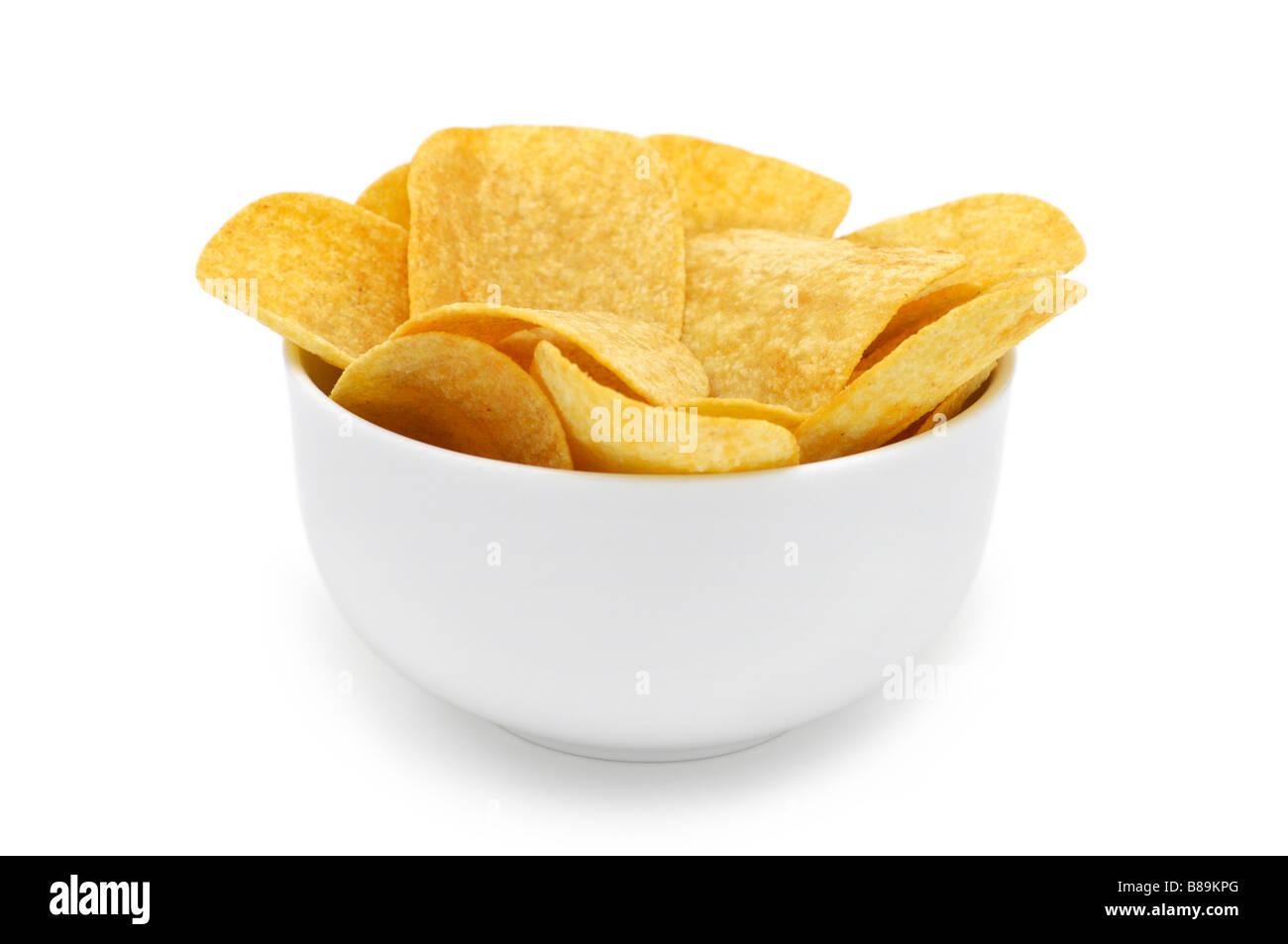 Bowl of Potato Crisps/Chips - Stock Image