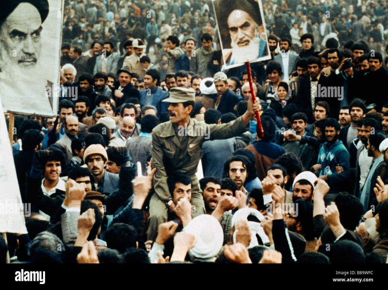 Tehran Iran Demonstration (jihad) Posters Of Ayatollah - Stock Image