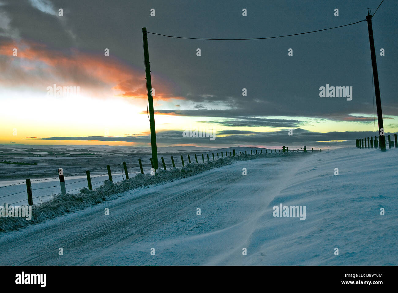 Snowdrift Lonformacus road Duns. Scottish Borders. - Stock Image