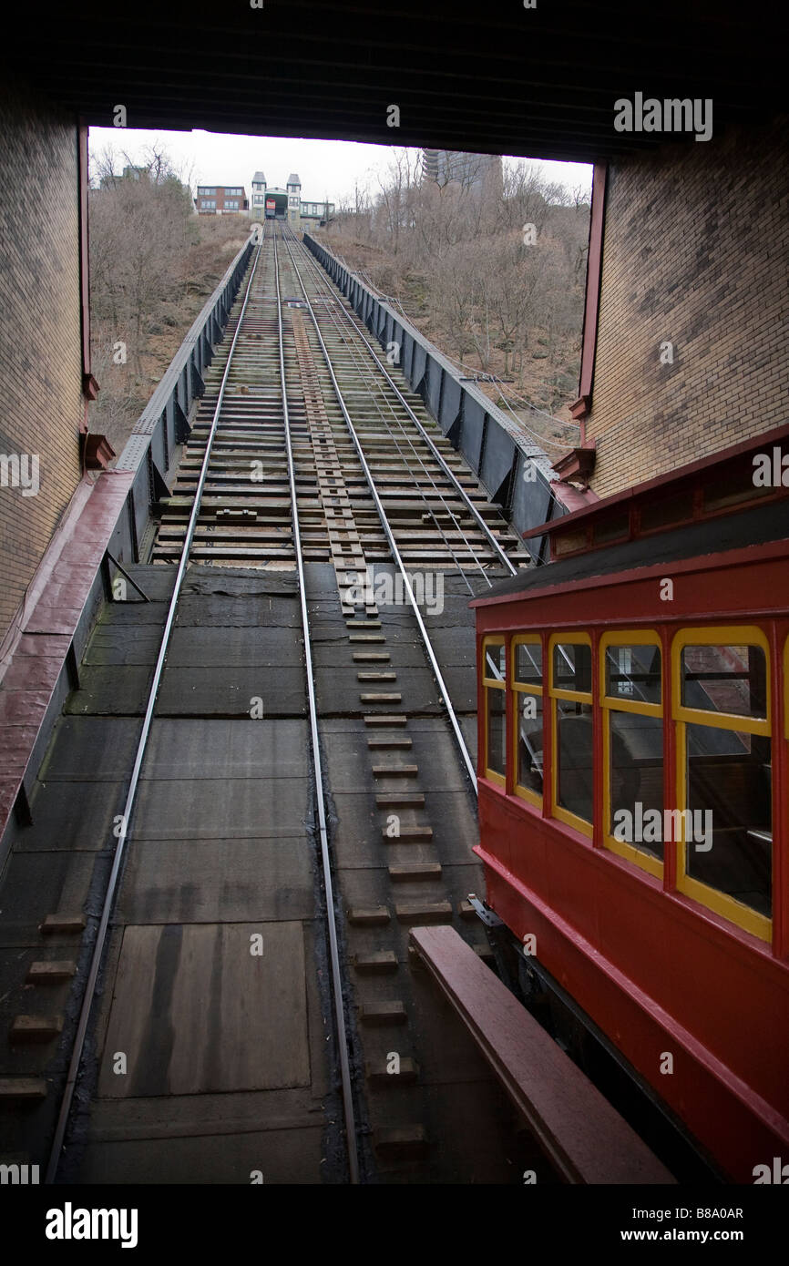 Duquesne Incline cable cars Pittsburgh - Stock Image