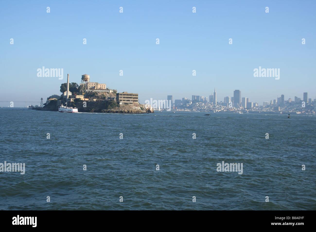 Alcatraz island and San Francisco skyline California  October 2006 - Stock Image