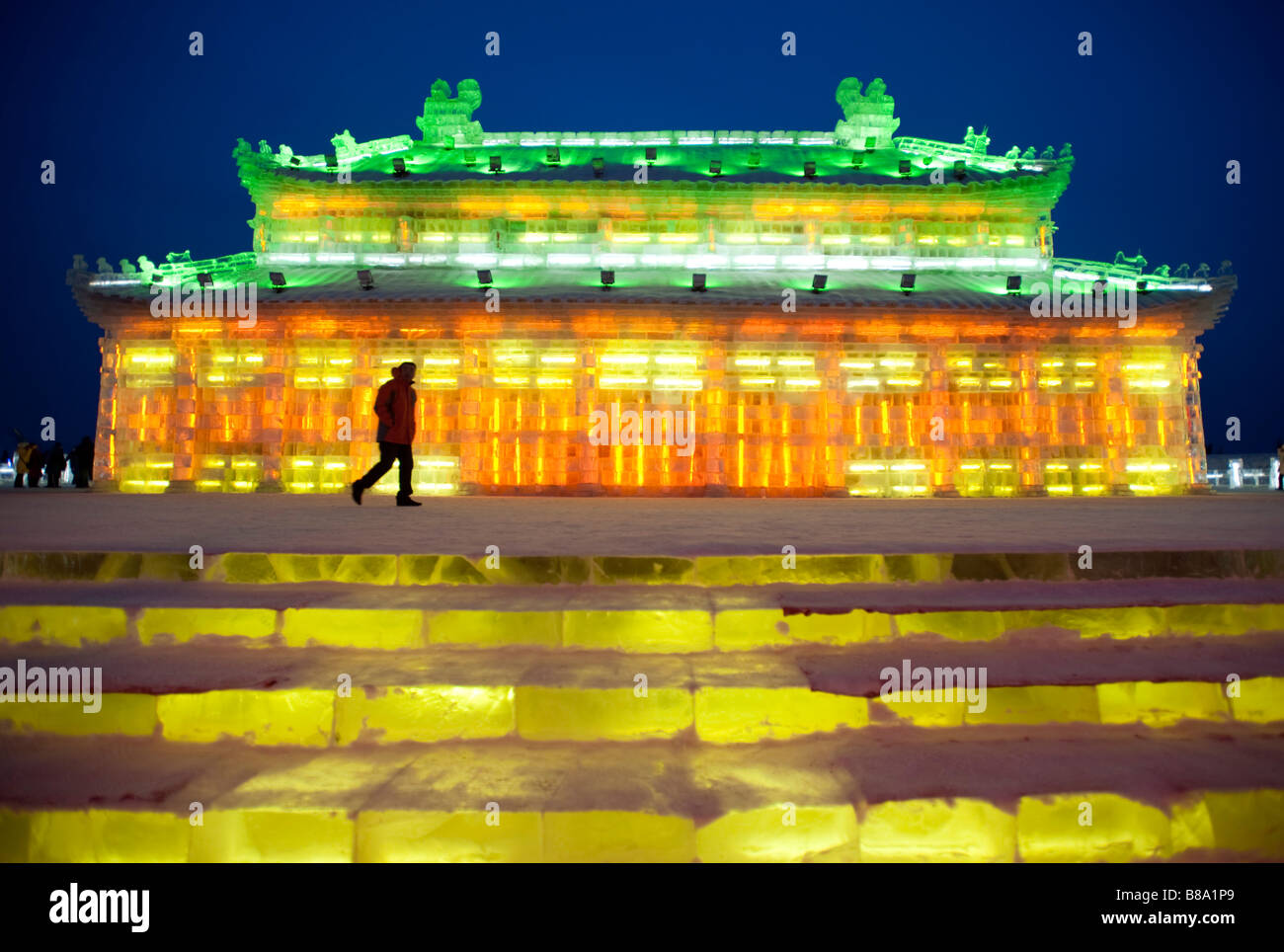 Spectacular illuminated ice sculptures at the Harbin Ice and Snow Festival in Heilongjiang Province China Stock Photo