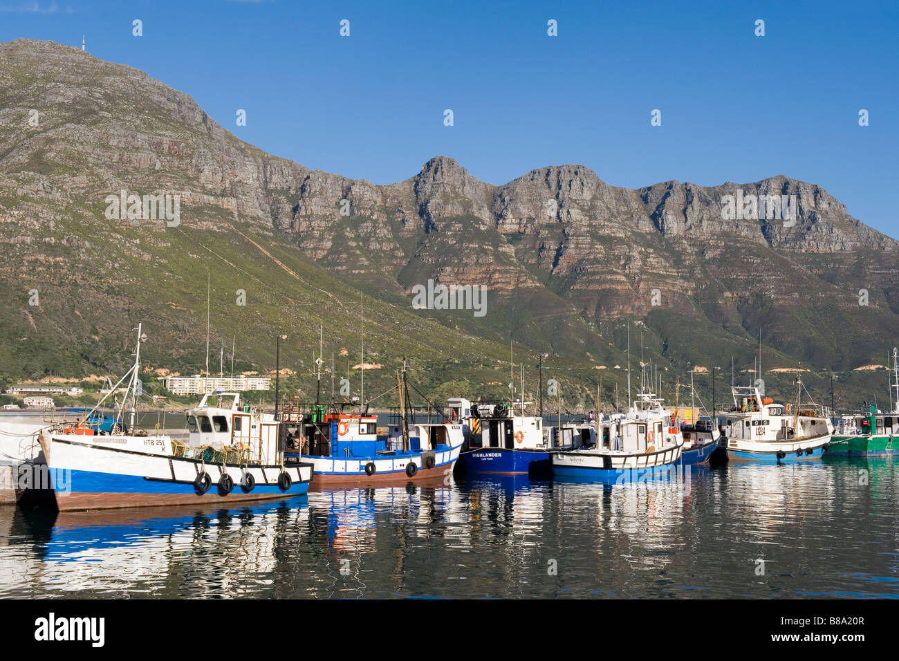 Fish trawlers in the harbor of Hout Bay Western Cape South Africa - Stock Image