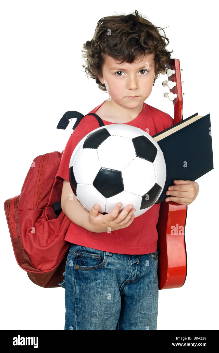 adorable child tired to make activities extracurricular - Stock Image