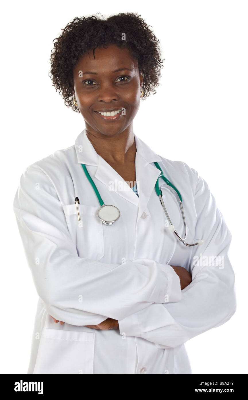 African american woman doctor a over white background - Stock Image