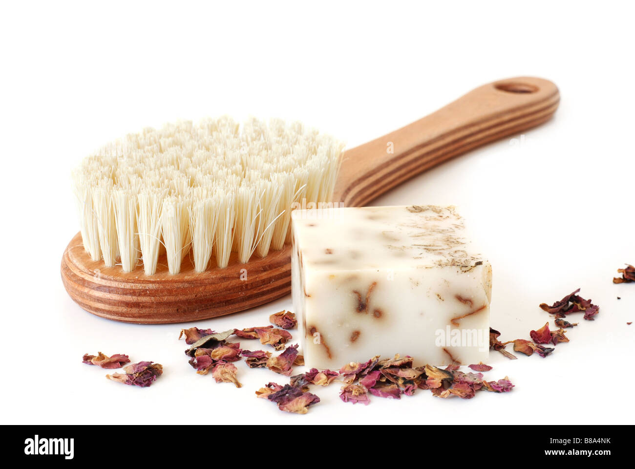 Bath brush and rose soap - Stock Image