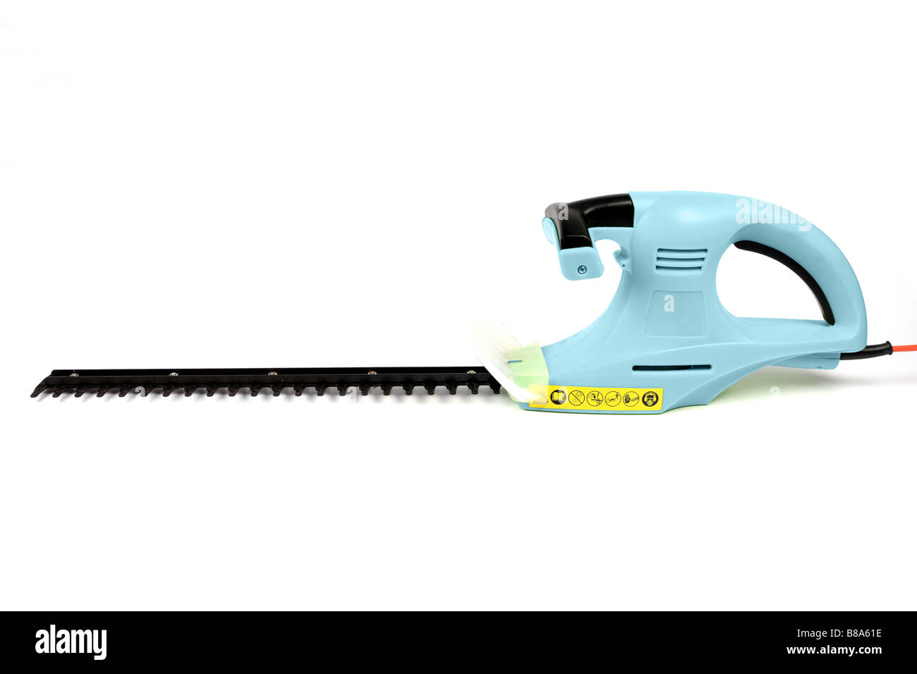 Electric garden hedge trimmer with its cutting blade on show set against a white background - Stock Image