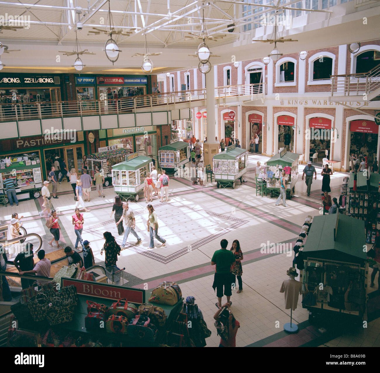 Shopping mall at V&A Victoria and Alfred Waterfront in Cape Town in South Africa in Sub Saharan Africa. Consumerism - Stock Image
