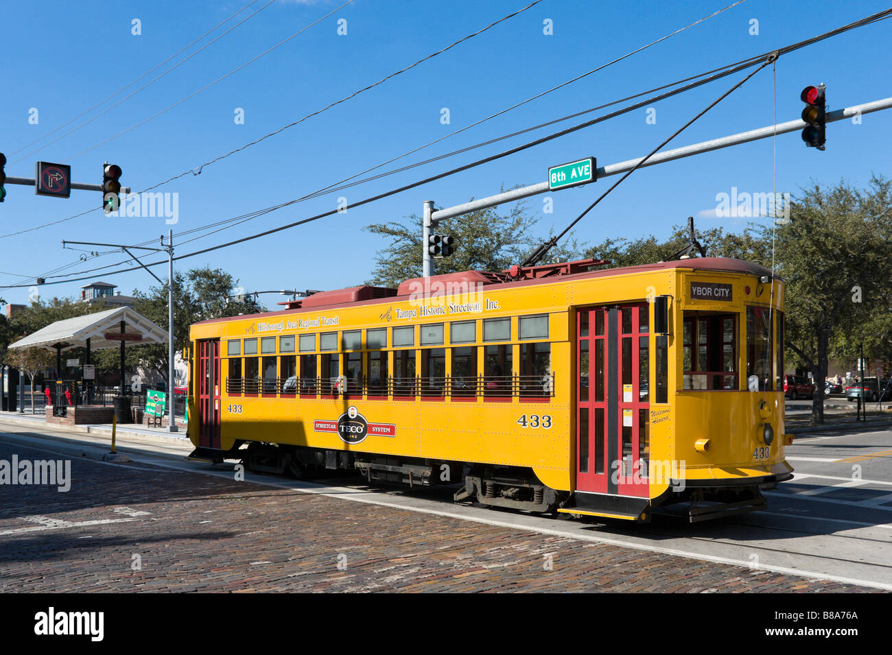 TECO Line Streetcar on 8th Avenue in the historic district of Ybor City, Tampa, Florida, USA - Stock Image