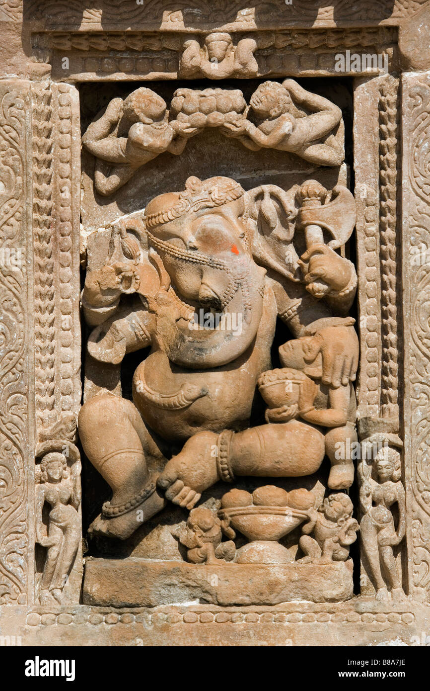 Sculpture of the Hindu god Ganesh on the wall of a temple in