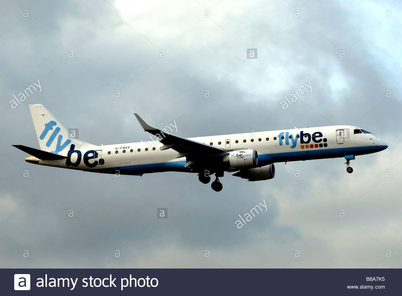 Flybe jet (Embraer 195) G-FBEK - Stock Image
