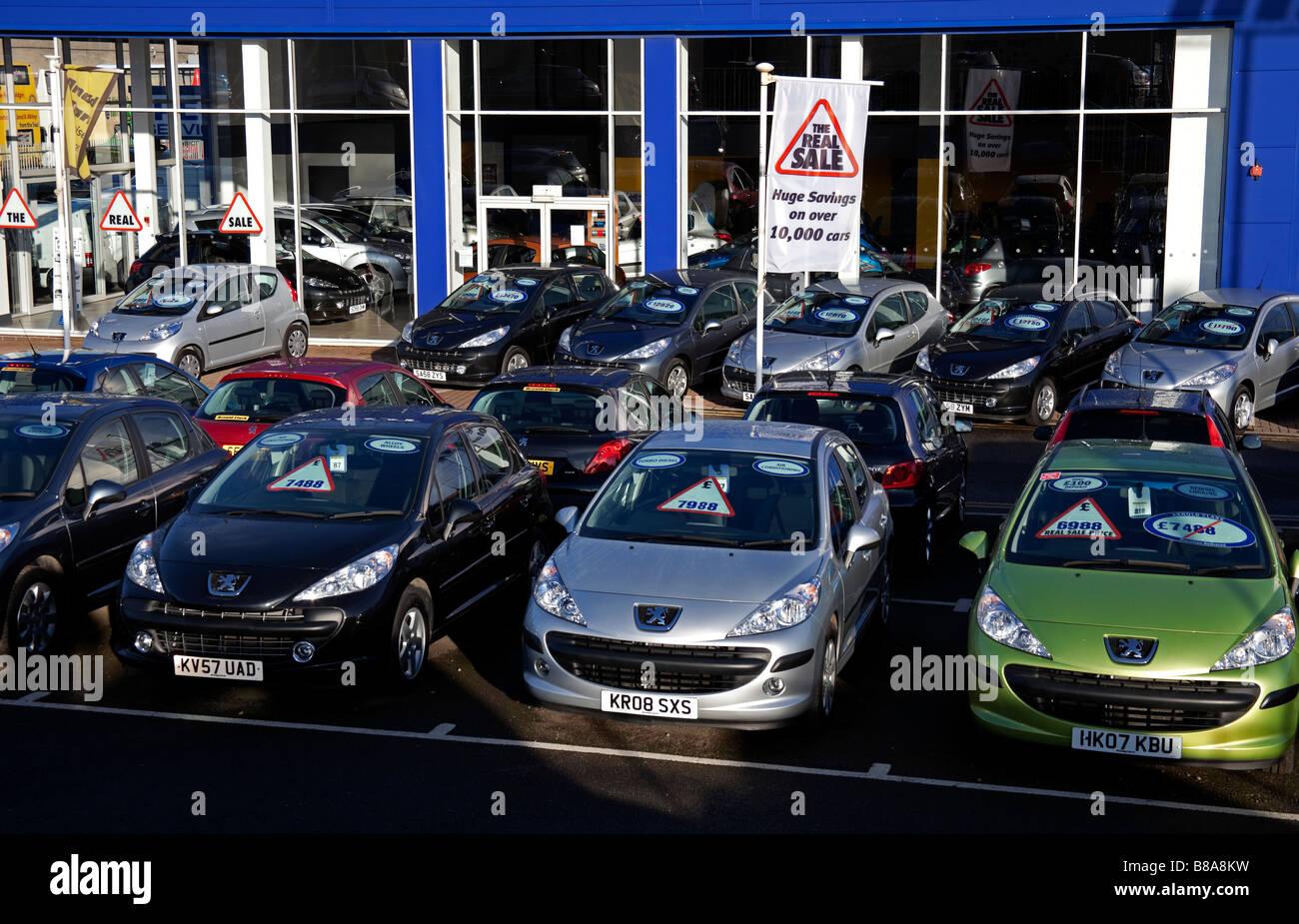 Peugeot Car Dealer Forecourt Seafield Road Edinburgh Scotland Uk
