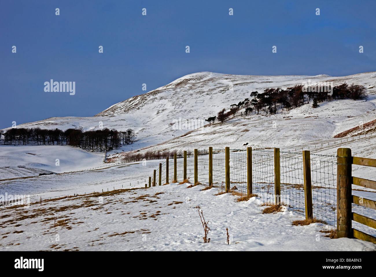Snow scene landsape, Pentland Hills, Midlothian Scotland, UK, Europe - Stock Image