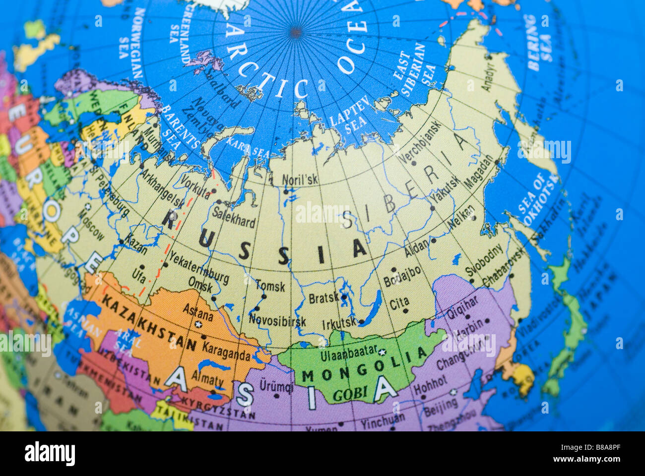 Russia map globe stock photos russia map globe stock images alamy map of russia on a globe stock image gumiabroncs Images