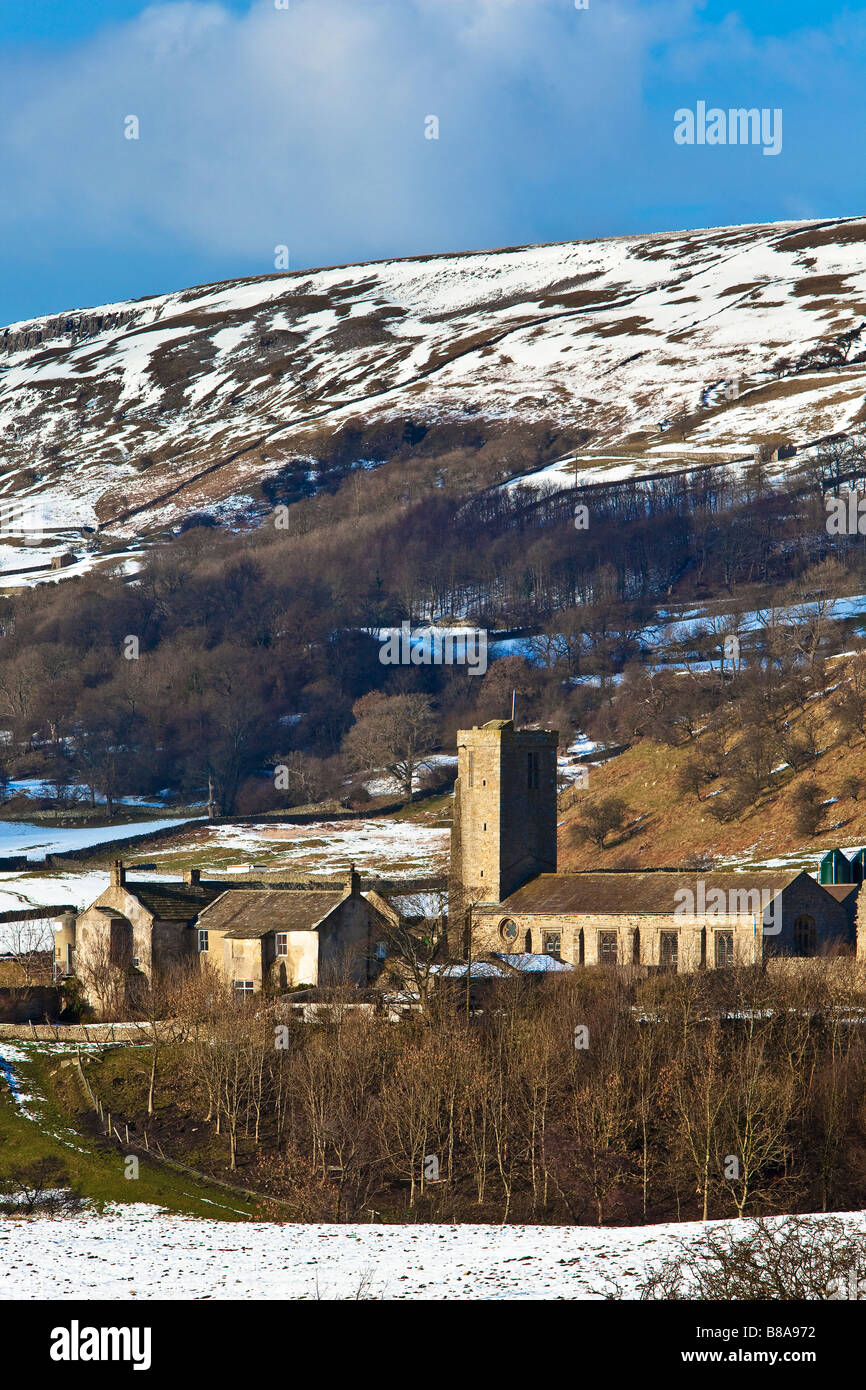 Remains of Marrick Priory Swaledale in Winter Yorkshire Dales National Park now outdoor pursuits centre - Stock Image