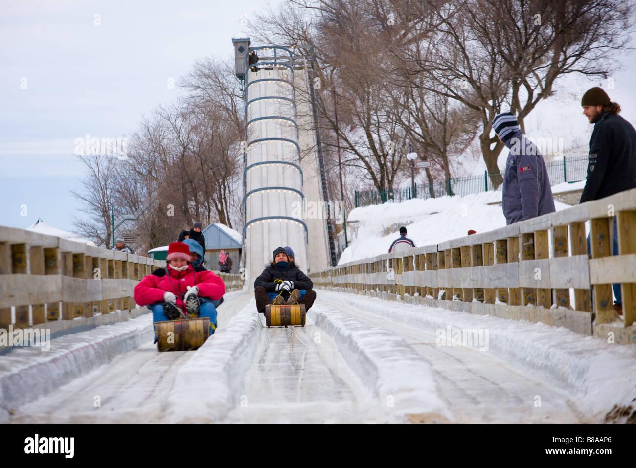 Toboggan slide at Terrasse Dufferin Old Town Quebec City Canada - Stock Image
