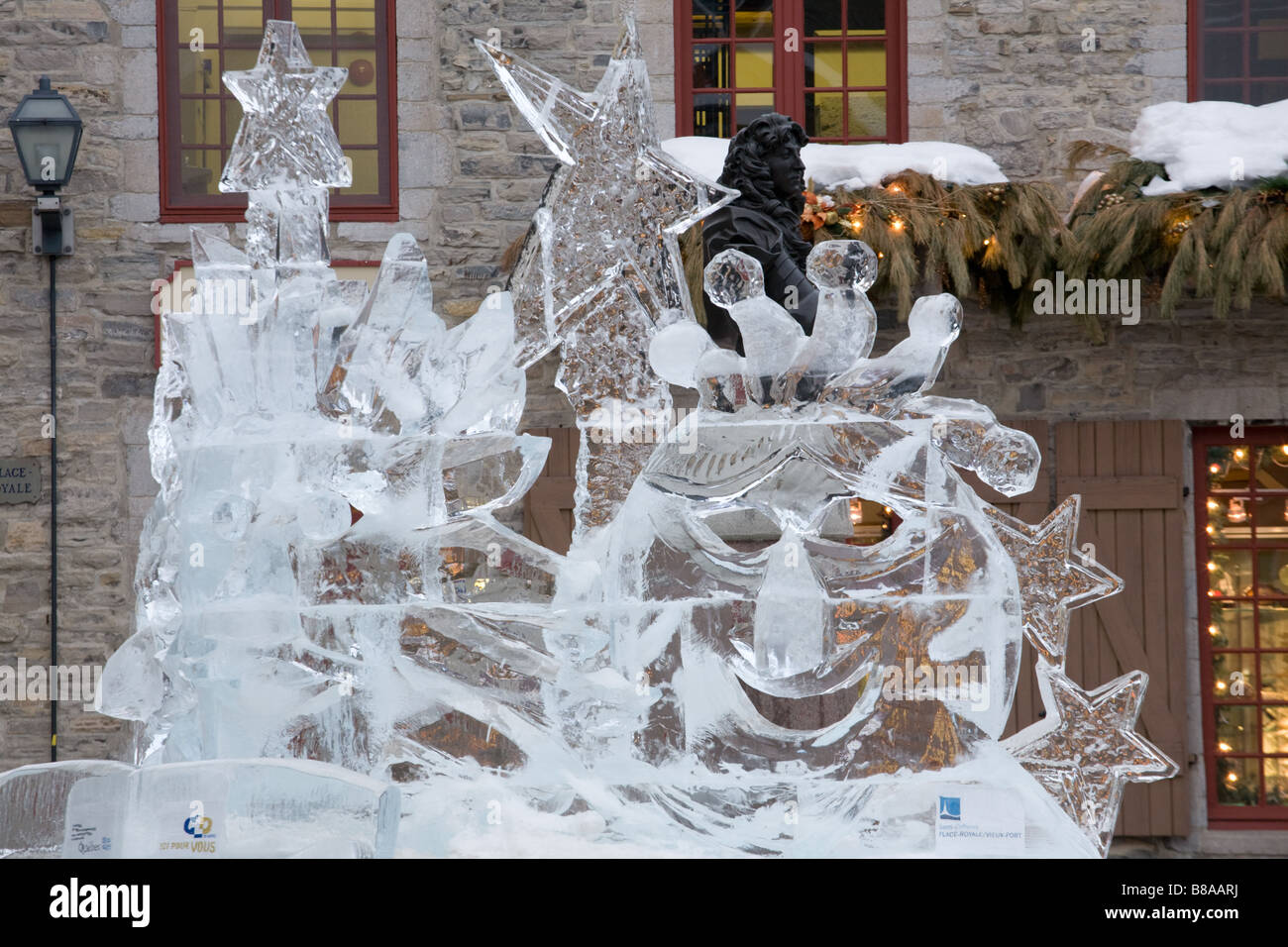 Ice carving Place de Paris Old Quebec City Canada - Stock Image