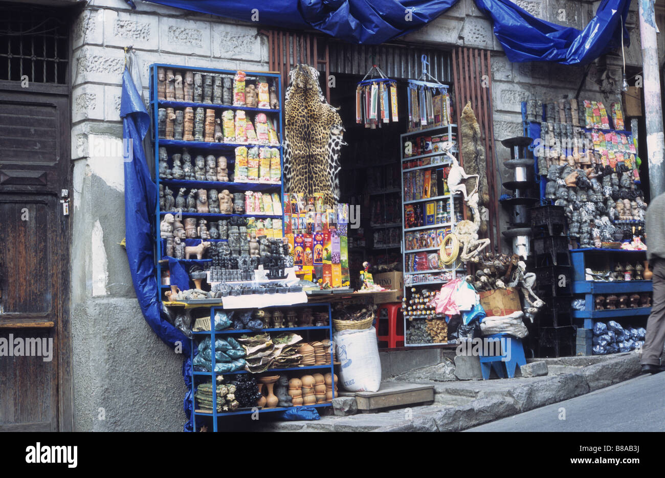 04afeb177373 Stall in Witches Market   Mercado de las Brujas with jaguar (Panthera onca)  skin