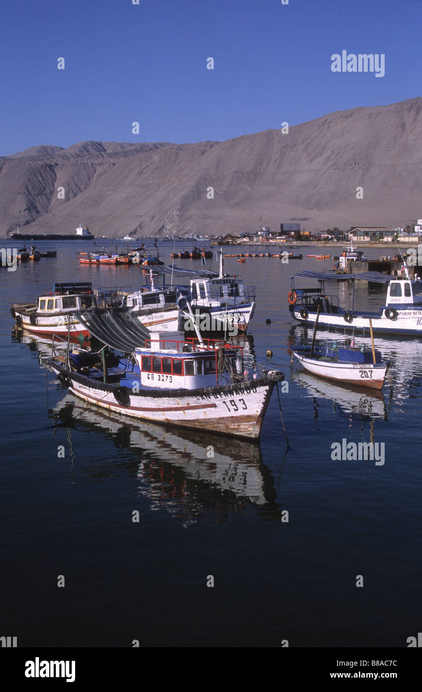 Fishing boats in harbour, Iquique, Chile - Stock Image