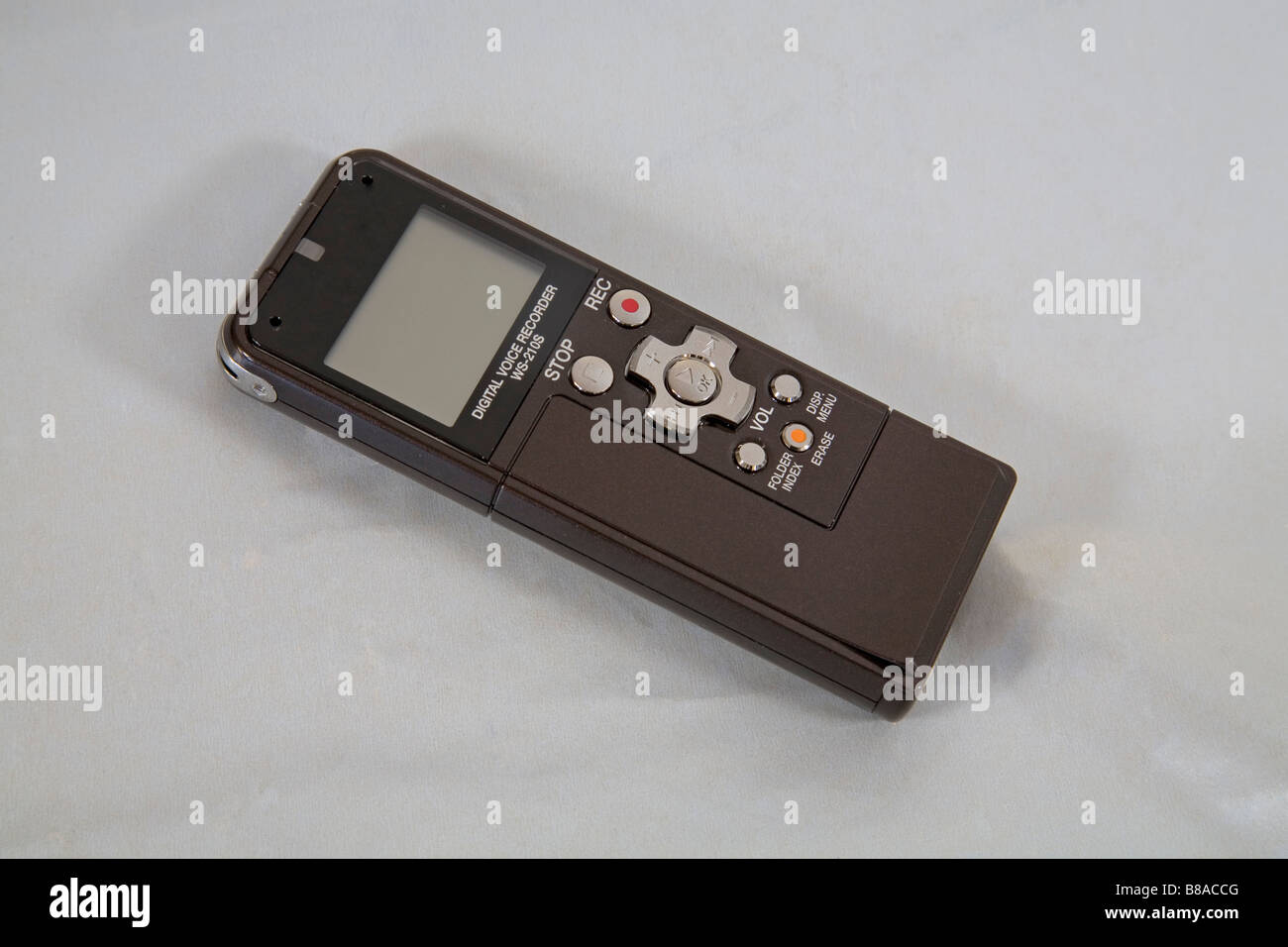 Detail of a digital voice recorder the modern equivalent of a tape recorder - Stock Image
