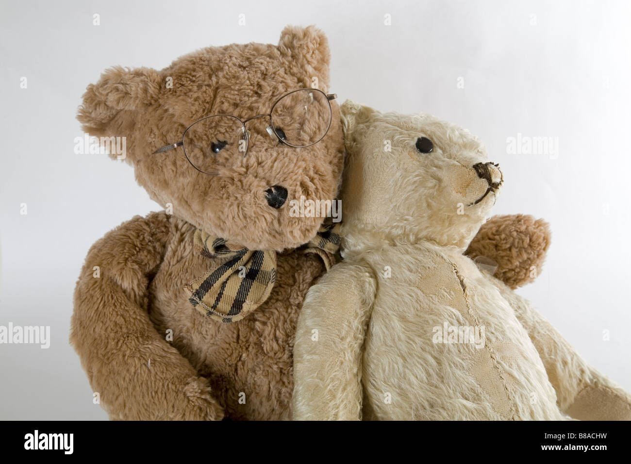 Two old teddy bears get together for Old Times Sake and to talk about their rips and tears - Stock Image