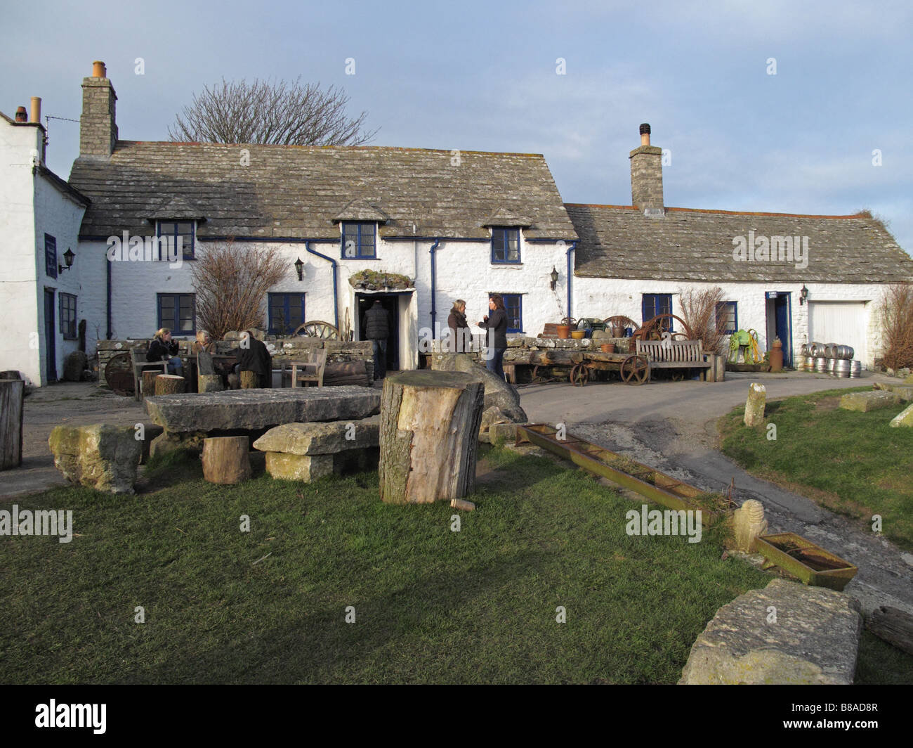 The Square and Compass village pub in Worth Matravers on the Isle of Purbeck, Dorset, England, UK - Stock Image