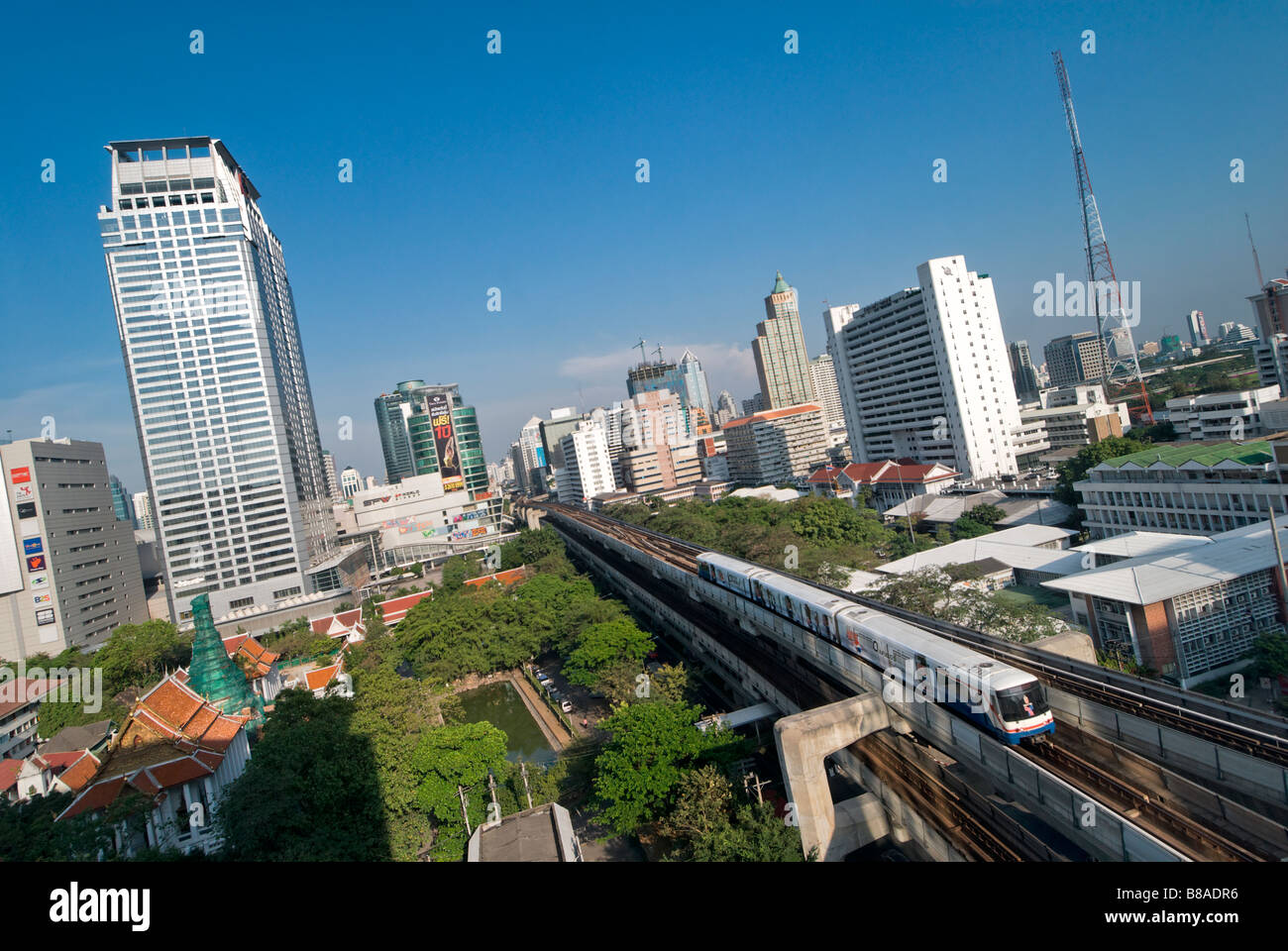 BTS SkyTrain elevated privately run Bangkok Transit System Pathumwan district in central Bangkok Thailand - Stock Image