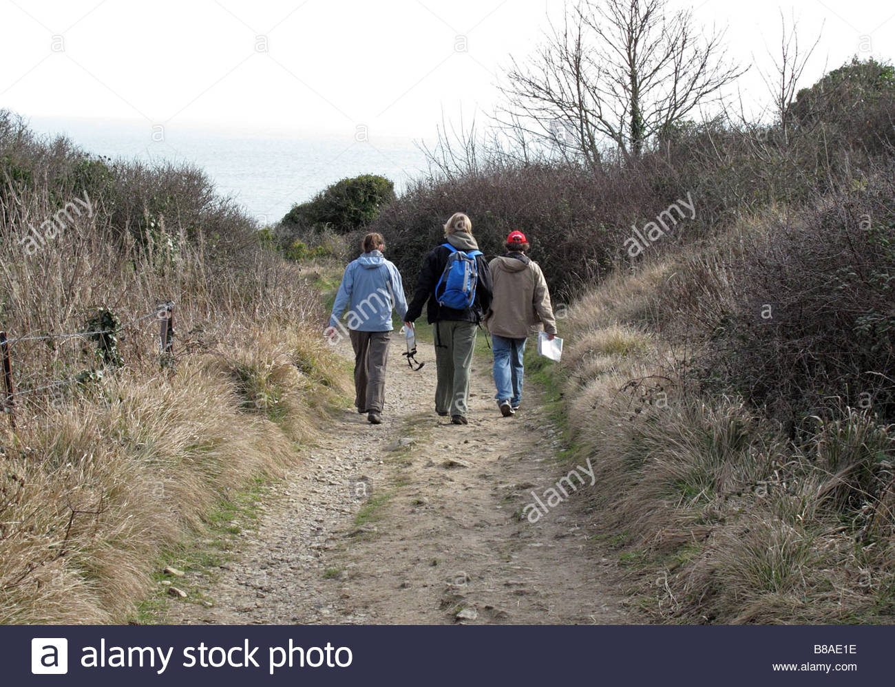 Winter walk from Worth Matravers to Winspit, Isle of Purbeck, Dorset, England, UK - Stock Image