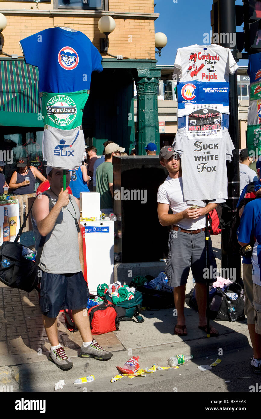 e3daa632d Vendors sell t-shirts outside Wrigley Field before a Chicago Cubs baseball  game, Chicago, Illinois