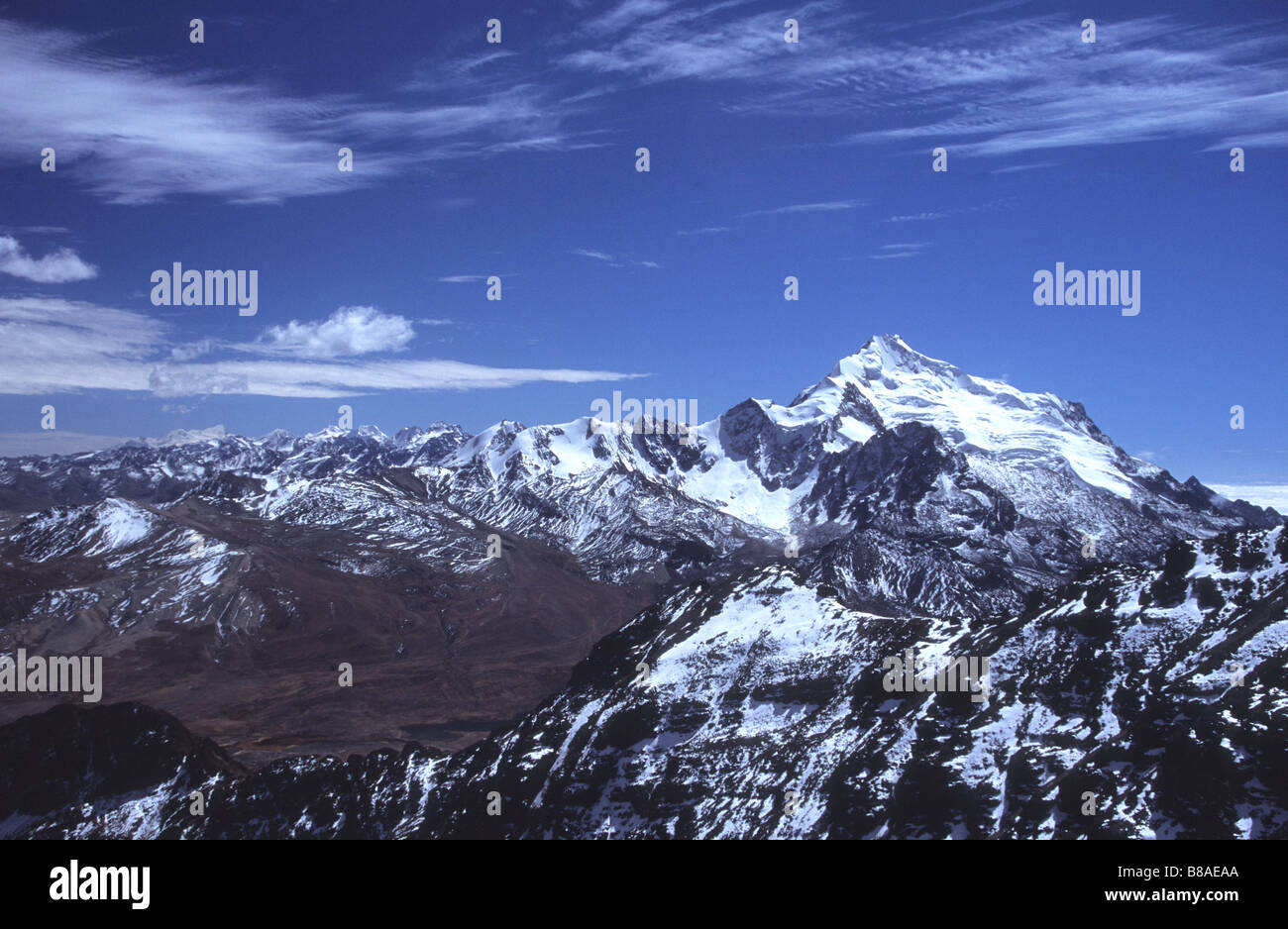 Mt Huayna Potosi and northern part of Cordillera Real, seen from Mt Chacaltaya, Bolivia - Stock Image