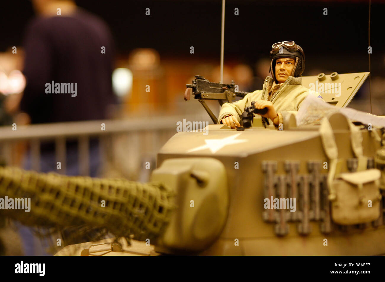 Close-up of turret of 1:6 scale model American tank Modelworld Brighton - Stock Image