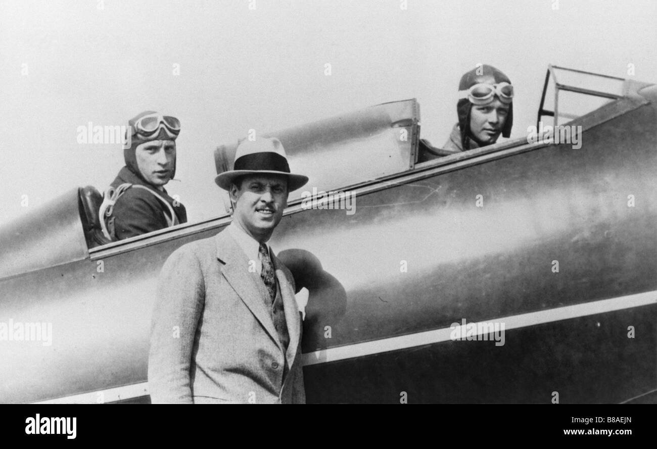 Fred E. Weick, in rear cockpit. Charles Lindbergh in front. Tom Hamilton - Stock Image