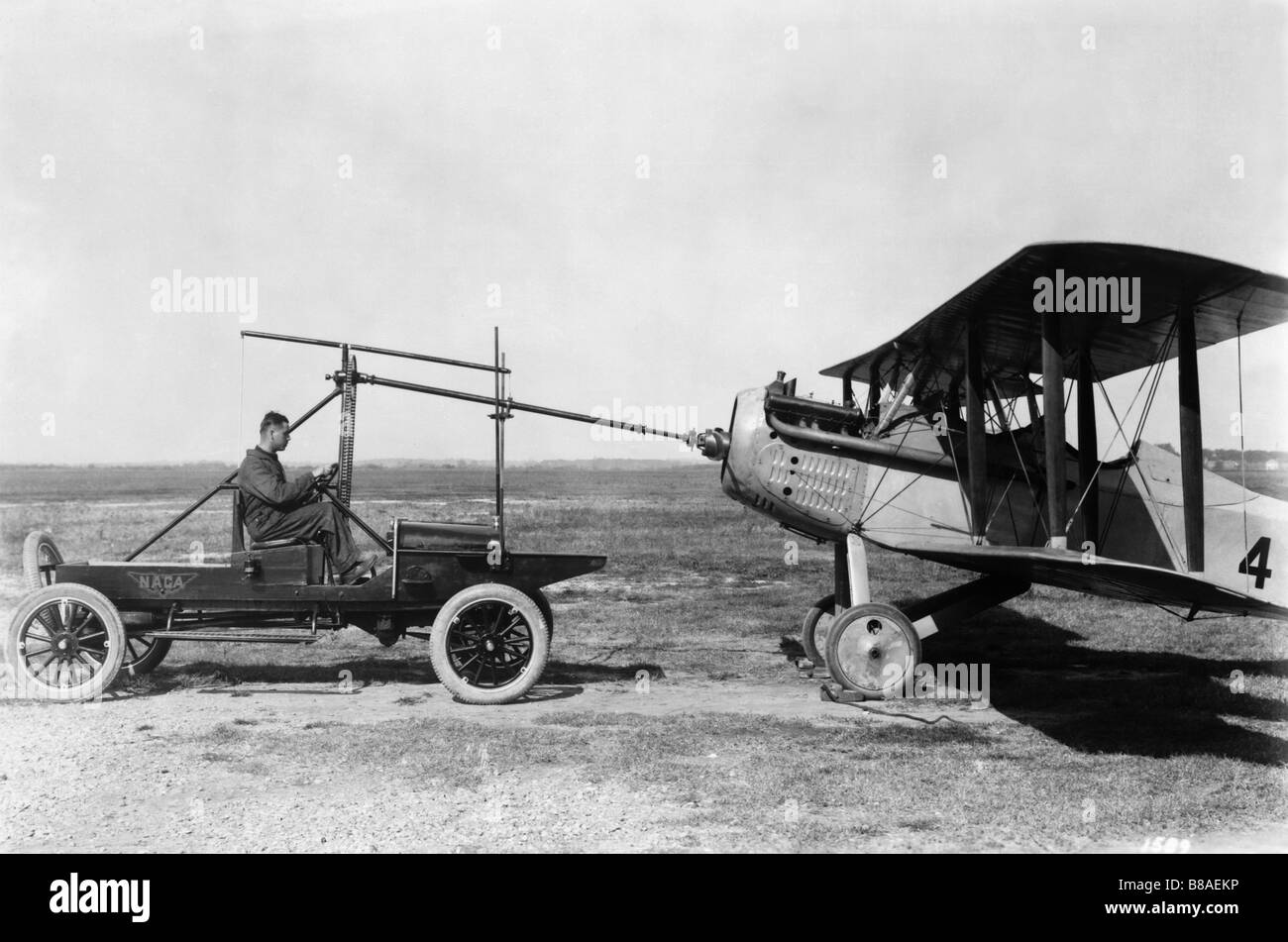 Modified Model T Ford with Huck starter, shown starting a Vought VE-7. - Stock Image