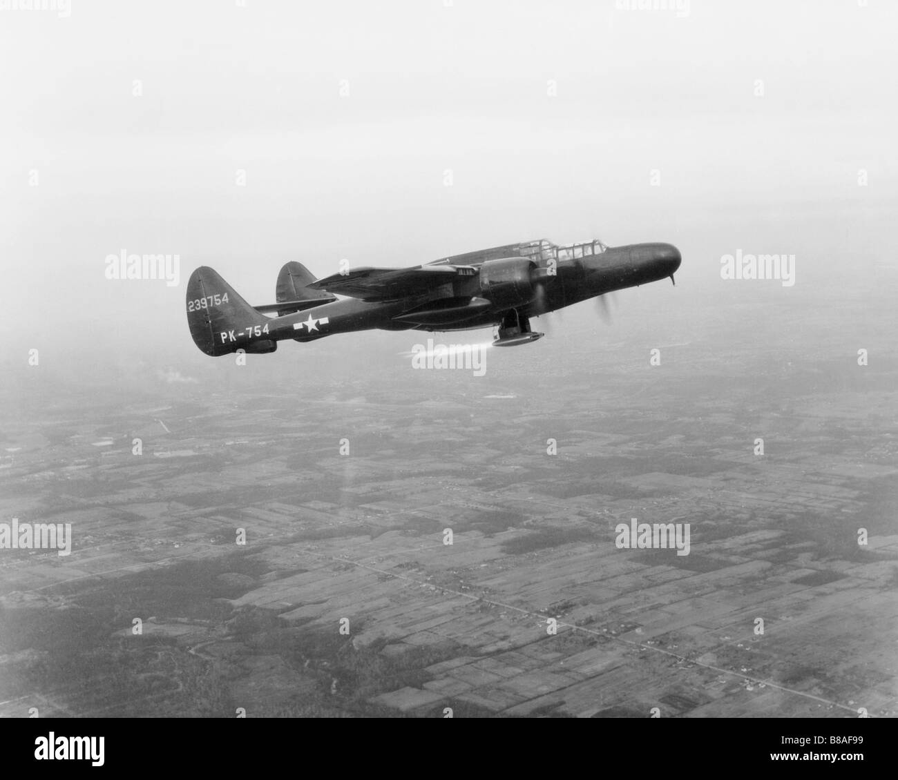 P-61 Flight Testing Ramjet Engine - Stock Image