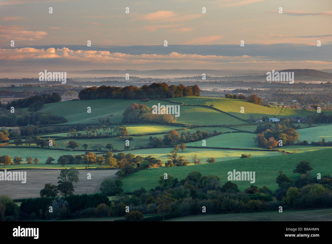 an autumn dawn in the Blackmore Vale, Dorset, England, UK - Stock Image