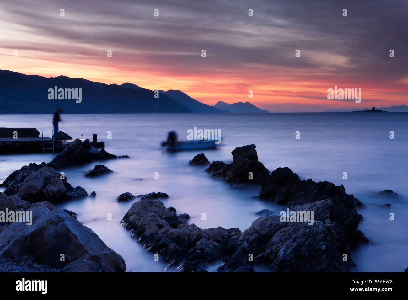 Orebić at dawn, Pelješac Peninsula, Dalmatia, Croatia - Stock Image
